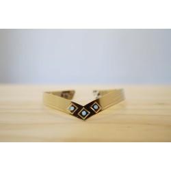 jonc bracelet femme, doré à l'or fin et bleu larimar