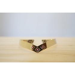 jonc bracelet femme, doré à l'or fin et rose vintage