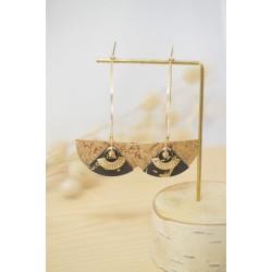 boucles d'oreille, liege naturel, or et noir , créoles , bijoux femme