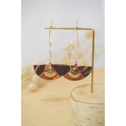 bijoux femme, boucles d'oreilles, créoles, liege , rose vintage et noir , plaqué or