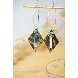 boucles d'oreilles, bijoux femme, vert, kaki, argent 925