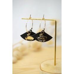 mini créoles, ginkgo, liège noir et plaqué or