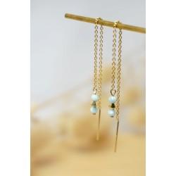 boucles d'oreilles pendantes, pierres naturelles, larimar, bijou femme