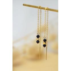 bijou femme, plaqué or, blue sand stone, boucles pendantes doubles