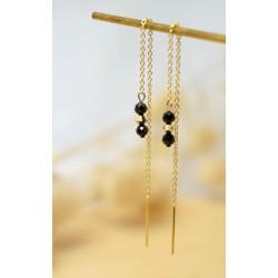 bijou femme, plaqué or, spinelle, boucles pendantes doubles