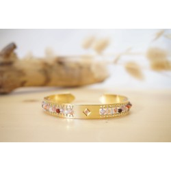 bracelet femme, agate, pierre naturelle, bijou, jonc, or