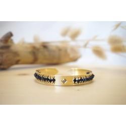 bracelet femme, blue sand stone, pierre naturelle, bijou, jonc, or