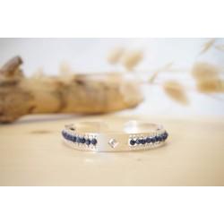 bracelet femme, pierre naturelle, bijou, jonc, argent, saphir