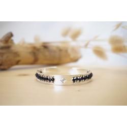 bracelet femme, pierre naturelle, bijou, jonc, argent, blue sand stone
