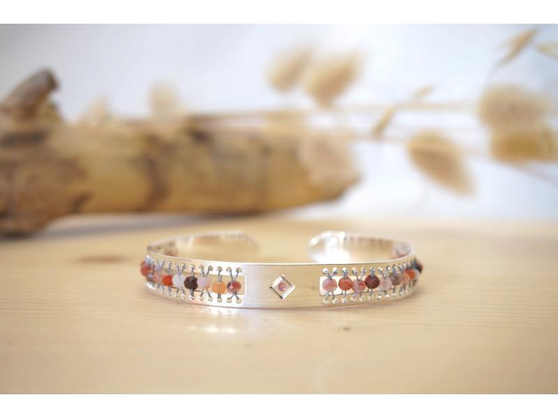 bracelet femme, pierre naturelle, bijou, jonc, argent, agate rouge