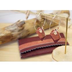 créoles en liége rose et argent 925, porte carte en liége