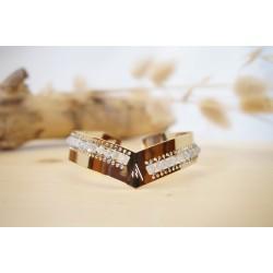 Jonc, bracelet femme, doré , labradorite, pierre naturelle, grise