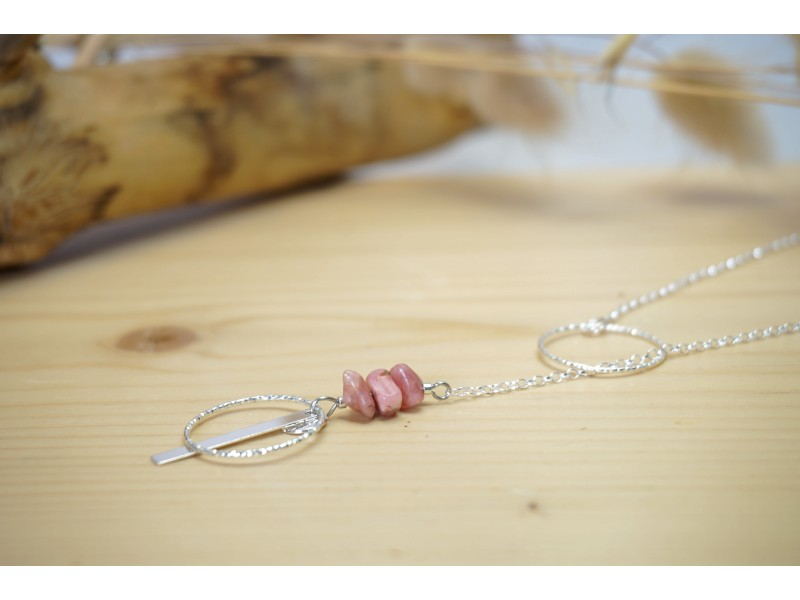sautoir, argent 925, pierre naturelle rhodochrosite, rose et argenté