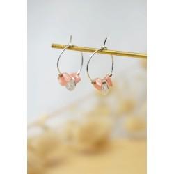 mini créoles, rose et argent, pierre naturelle rhodochrosite