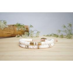bracelet heishi, double tour , blanc et or , bracelet femme, coquillage, bijoux été