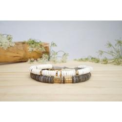 bracelet heishi, double tour, gris, blanc et or , bracelet femme, coquillage, bijoux été