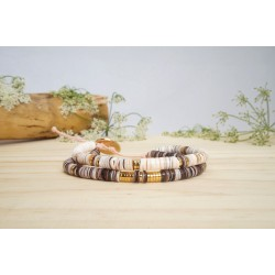 bracelet heishi, double tour, rose pastel, prune, nude  et or , bracelet femme, coquillage, bijoux été