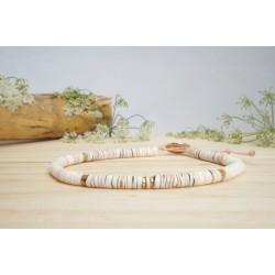 bracelet cheville, bijou pied, coquillage, nude, rose, hématite
