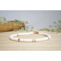 bracelet cheville, bijou pied, coquillage, blanc et or, hématite