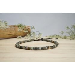 bracelet cheville, bijou pied, pierres naturelles, turquoise africaine, perle verte et hématite
