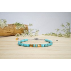 bracelet, pierres naturelles, magnésite, turquoise, bijou femme, poignet, artisanat
