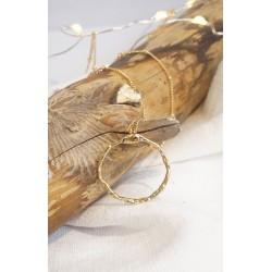 collier plaqué or, femme, anneau martelé