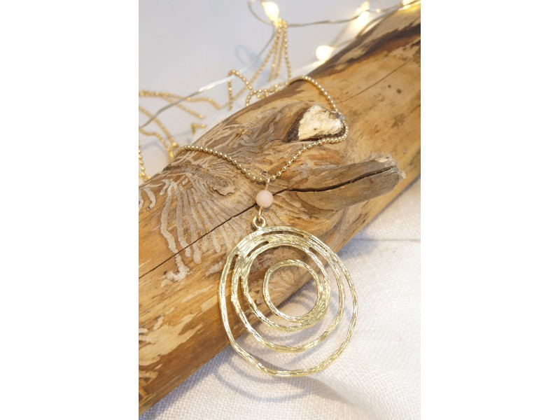 collier sautoir spiral, plaqué or et pierre naturelle aventurine