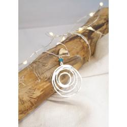 Collier plaqué argent, spirale, pierre naturelle, apatite bleu