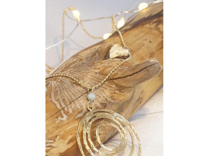 collier sautoir spiral, plaqué or et pierre naturelle larimar