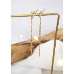 boucles pendantes plaqué or , chaine fine, tige , doré