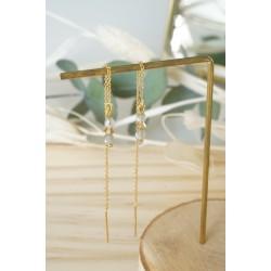 boucles d'oreilles pendantes , chainette or , pierre naturelle labradorite