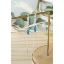boucles d'oreilles pendantes , chainette argent 925 , pierre naturelle apatite
