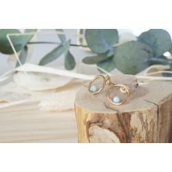 boucles d'oreille, larimar, bijou femme, pierre naturelle, bleu ciel