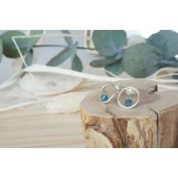 boucles d'oreille,  bijou femme, pierre naturelle apatite, argent 925