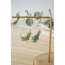 créoles plaqué or et pierre naturelle turquoise africaine, vert et or