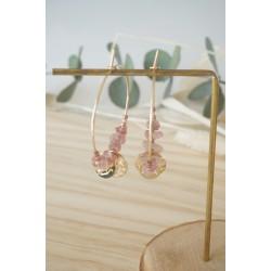 créoles plaqué or et pierre naturelle quartz rose du brésil, rose et or