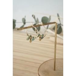 mini-créoles en plaqué or et chips de pierre naturelle turquoise africaine