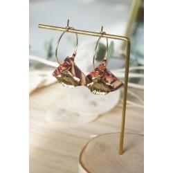 mini créoles, ginkgo, liège rose, orangé, rouge et noir et plaqué or