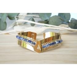 jonc en pierre naturelle sodalite et doré à l'or fin, bleu