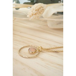 collier anneau martelé plaqué or, pierre naturelle, quartz rose, bijou femme