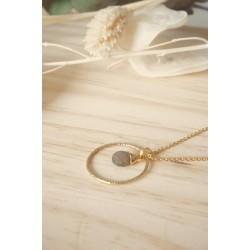 collier anneau martelé plaqué or, pierre naturelle, labradorite, bijou femme