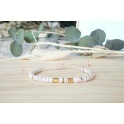 bracelet coquillage, heishi, nude, rose, bijou femme, été, pastel