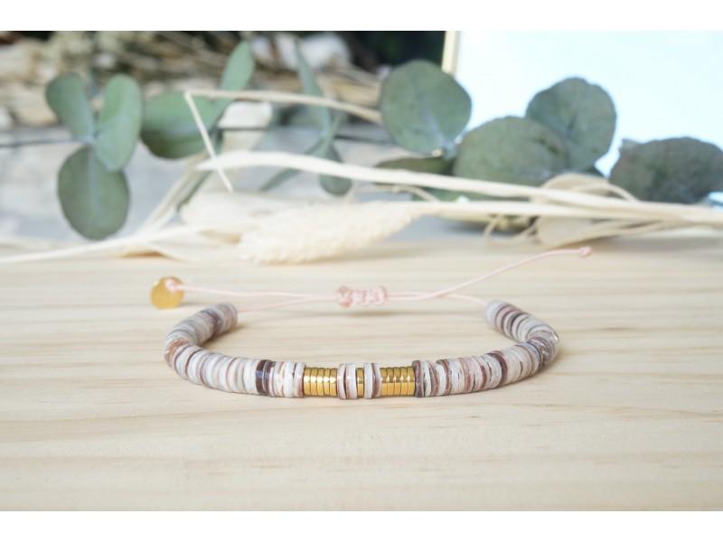 bracelet heishi, nude, prune, rose , bracelet femme, coquillage, bijoux été
