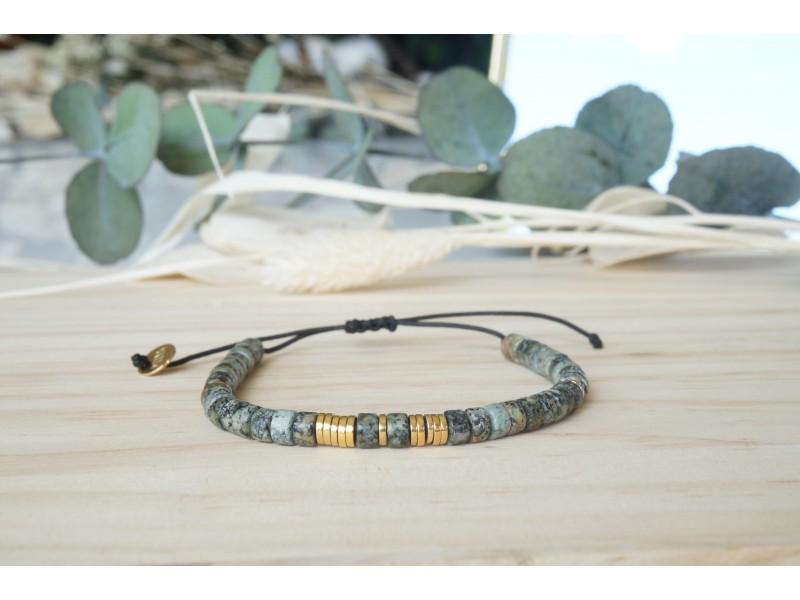bracelet, pierres naturelles, turquoise africaine, vert foret, bijou femme, poignet, artisanat