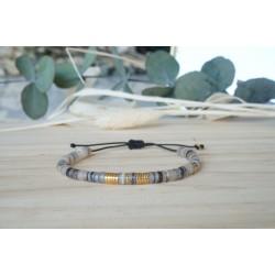 bracelet heishi, coquillage gris et or ,hématite