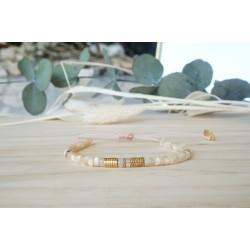 bijou femme, bracelet nace, hématite, beige nude, naturel