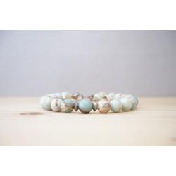 bracelet homme en pierre fine, jaspe impérial, bleu ciel, naturel, ocre, acier inoxydable