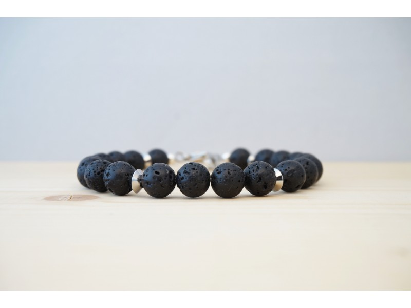 bracelet homme en pierre fine, pierre de lave, noir et acier inoxydable