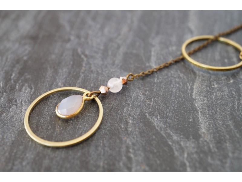 Sautoir sérénité en quartz rose et swarovski en or rose