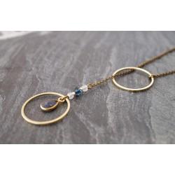 sautoir sérénité en pierre gemme Lapis lazuli  et swarovski, bleu nuit et bleu ciel